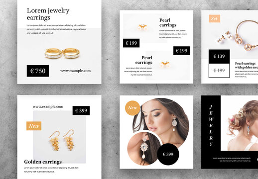 Elegant Social Media Layouts for Jewelry Products