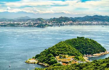 Aerial view of Fortaleza de Sao Joao fortress in Rio de Janeiro, Brazil