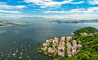 Aerial view of Urca neighborhood in Rio de Janeiro, Brazil