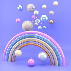 3d render of a rainbow with colorful balls