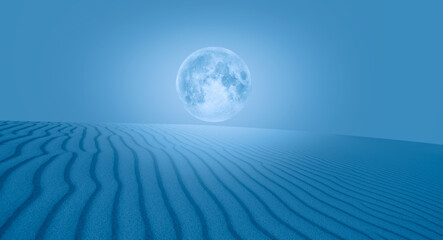 Wall Mural - Night sky with full moon sand dune on the foreground