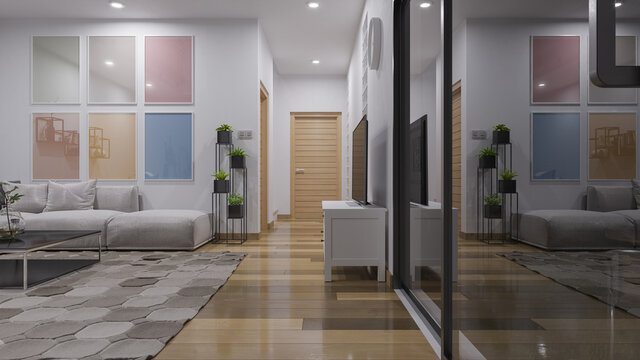 Nighttime Rendering of an Illuminated Living Room with Sliding Doors 3D Rendering