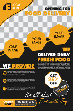 Restaurant Food Delivery Poster Template. Features: - Print Ready - CMYK - Width 42 in, Height 64 in with Bleed - Adobe Illustrator CS6