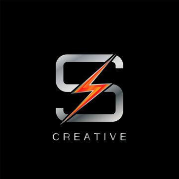 S Letter Logo, Abstract Techno Thunder Bolt Vector Design.