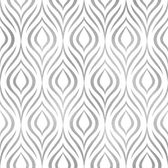 Peacock feather. Vector seamless pattern. Silver elegant floral background. Abstract geometric texture. Silver peacock feather. Contemporary wallpaper. Design prints. Bird plumage. Vector illustration