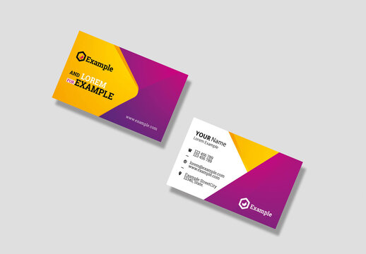Travel and Tourism Business Card with Yellow and Magenta Accents