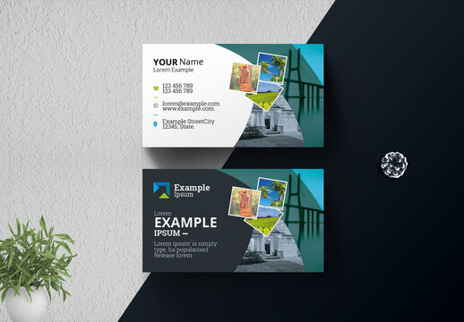 Travel and Tourism Business Card with Abstract Elements