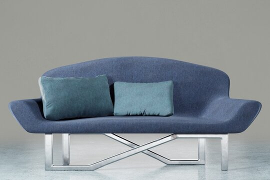 Blue sofa with pillows