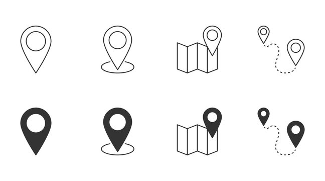 Location vector icon. Editable stroke. Geolocation map path distance. Destination delivery road home. GPS cartography travel position. Glyph and linear icons