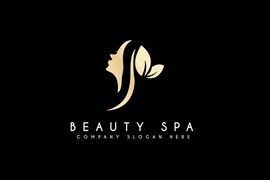 Beauty Women Face Logo Design. Vector Business Cosmetic and Spa Branding Logo