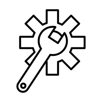 wrench with gear settings machine line style icon