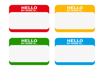 """Vector set of different blank """"Hello my name is"""" stickers. All vector objects are isolated and grouped. Badges have a transparent background. Colors are easy to adjust/customize."""
