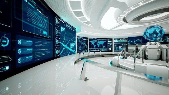Command center, futuristic interior, 3D rendering, control room, war room