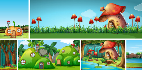 Six different scene of fantasy world with fantasy places such as pumpkin house and mushroom house