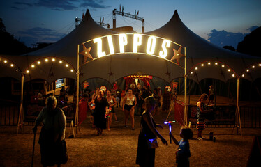 """People leave the Zippos Circus after the show called """"Rebound!"""" on its opening night, in Brighton"""