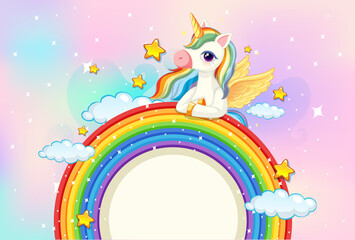 Printed kitchen splashbacks Kids Blank banner with cute unicorn on rainbow in the pastel sky background