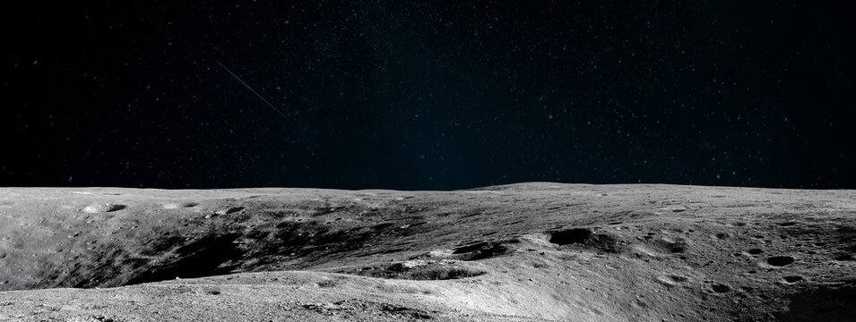Moon surface. Black background. Apollo space program. Ultrawide space wallpaper. Elements of this image furnished by NASA