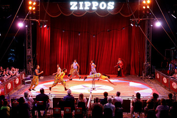 """Acrobats perform at the Zippos Circus during the show called """"Rebound!"""" on its opening night"""