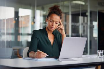 Portrait of pensive businesswoman  working at desk