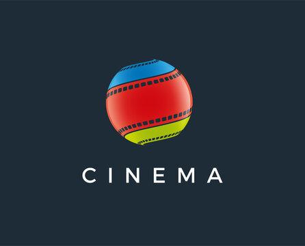 minimal cinema logo template - vector illustration