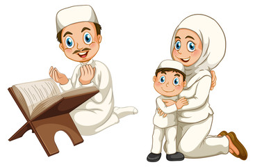 Arab muslim family in traditional clothing isolated on white background
