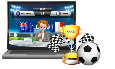 Football match score news on laptop screen with trophy and ball isolated