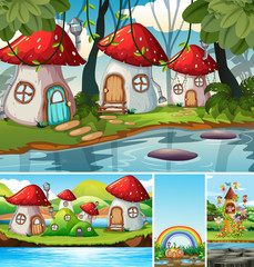 Four different scene of fantasy world with mushroom village