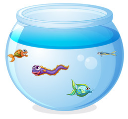 Cute fishes in the tank cartoon isolated