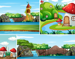 Four different scene of fantasy world with beautiful fairies in the fairy tale and castle with water fall scene