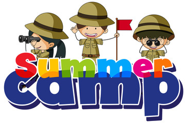 Font design for word summer camp with kids in scout costume