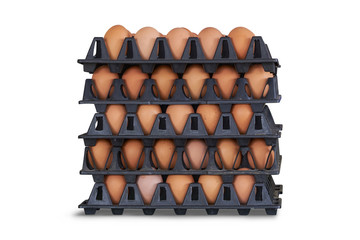 Chicken eggs in stacked trays on white background. Clipping path