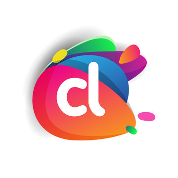Letter CL logo with colorful splash background, letter combination logo design for creative industry, web, business and company.