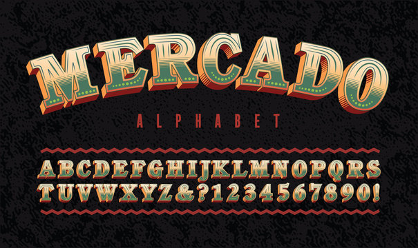 "Mercado Hispanic Themed Alphabet; Warm Earth Tones & Green Font Suggestive of a Mexican or Latino Market. Ornate Letters with Highly Legible Slab Serifs. Translation: ""Mercado"" is Spanish for Market."