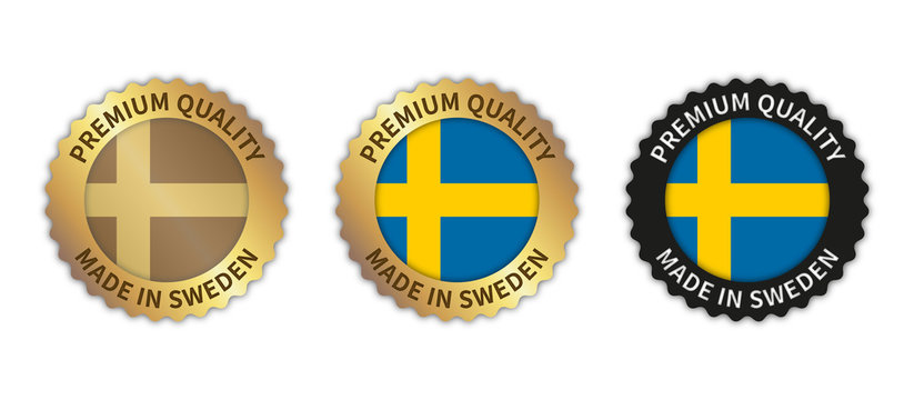 """Set of 3 """"Made in Sweden"""" vector icons. Illustration with transparent background. Country flag encircled with gold/black stamp. Sticker/logo for product/website."""