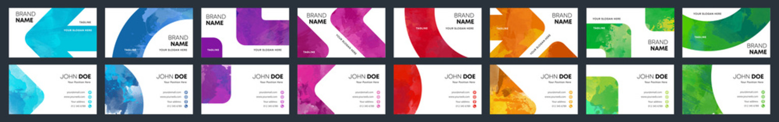 Watercolor business identity cards colourful cover template bundle set