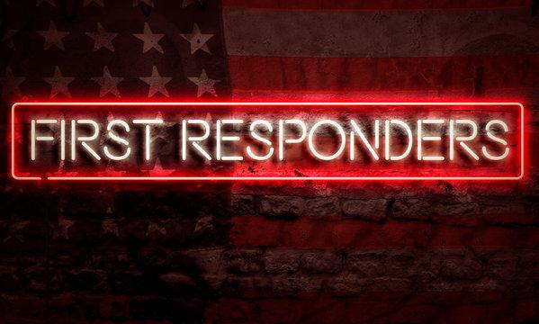 First Responders Patriotic Neon Sign On Brick American Flag