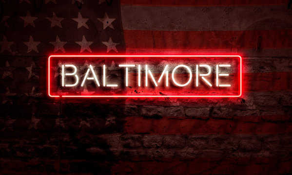 Baltimore Neon Sign On Brick American Flag