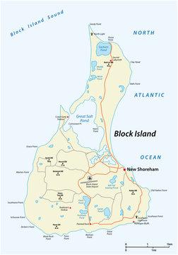 vector road map of Block Island, Rhode Island, United States