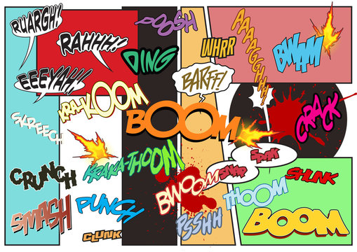 Comic Book Illustration Style Sound Effects, Onomatopoeia Words for Comics