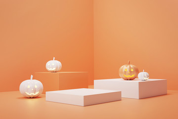 Podium and minimal abstract background for Halloween, 3d rendering geometric shape, Stage for product.