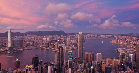 Wall Mural - Hong Kong city skyline at sunset