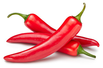 Clipping path hot chili peppers. Hot chili peppers. Peppers chili full macro shoot food ingredient on white isolated.
