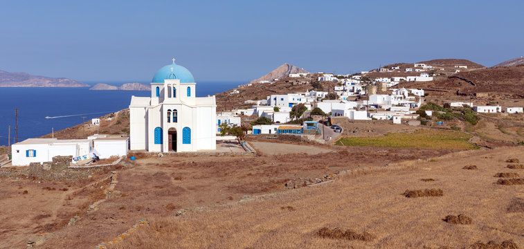 Saint George church in Ano Meria village, Folegandros island, Cyclades, Greece.