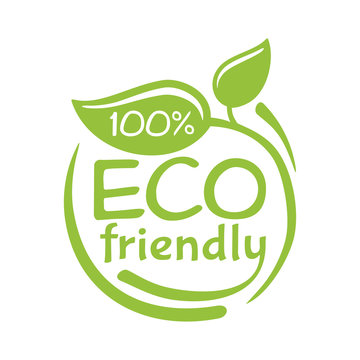 100 percents Eco-friendly stamp in green rounded decoration - for natural food and cosmetics products - isolated vector badge with slogan