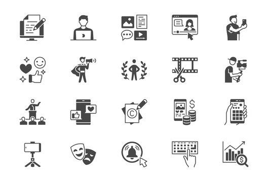 Blogger flat glyph icons. Vector illustration included icon as blog monetization, video editing, personal brand, copywriting, videographer black silhouette pictogram of social media content