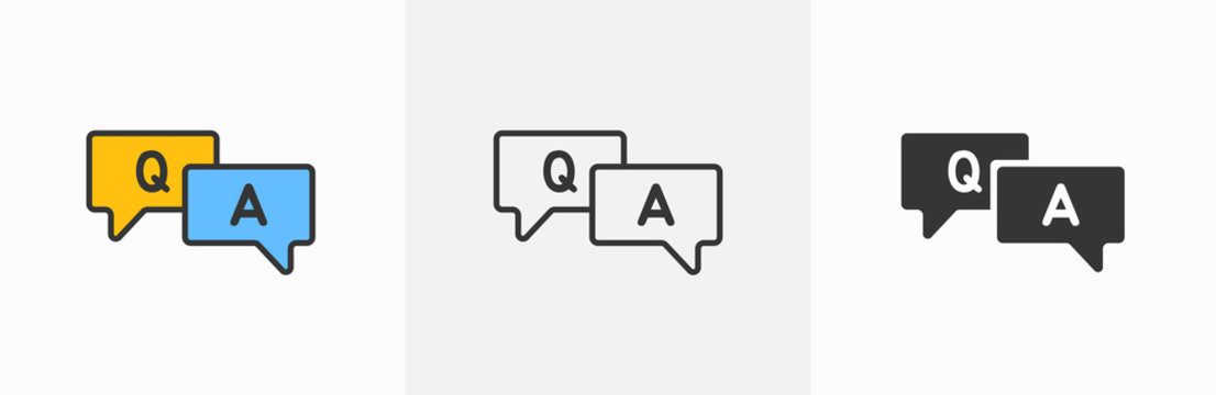 Question and answer line icon designed as faq outline symbol with q and a letter in thin black line, solid, and blue and yellow speak bubble. Flat outline ask and explain forum vector logo clipart V1