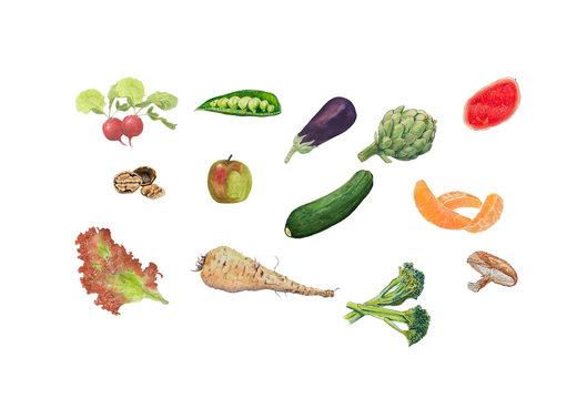 Fruit and veg mini icons