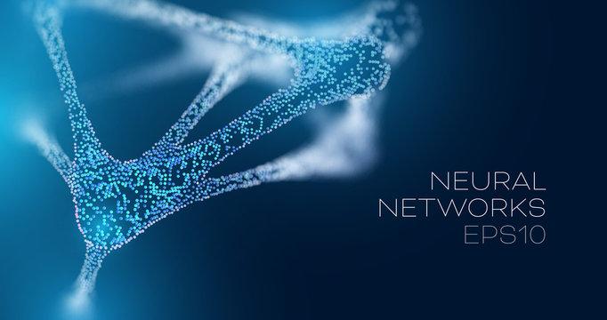 Neural network futuristic background. Future medicine vector illustration. Artificial intelligence research