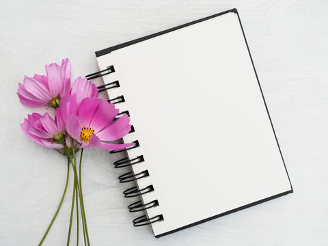 Blank notepad page and a beautiful flower. Close-up, view from above, wooden surface. Concept of preparation for a professional holiday. Congratulations for relatives, friends and colleagues
