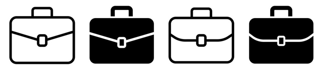 Briefcase icon collection. Different brifecase set. Vector